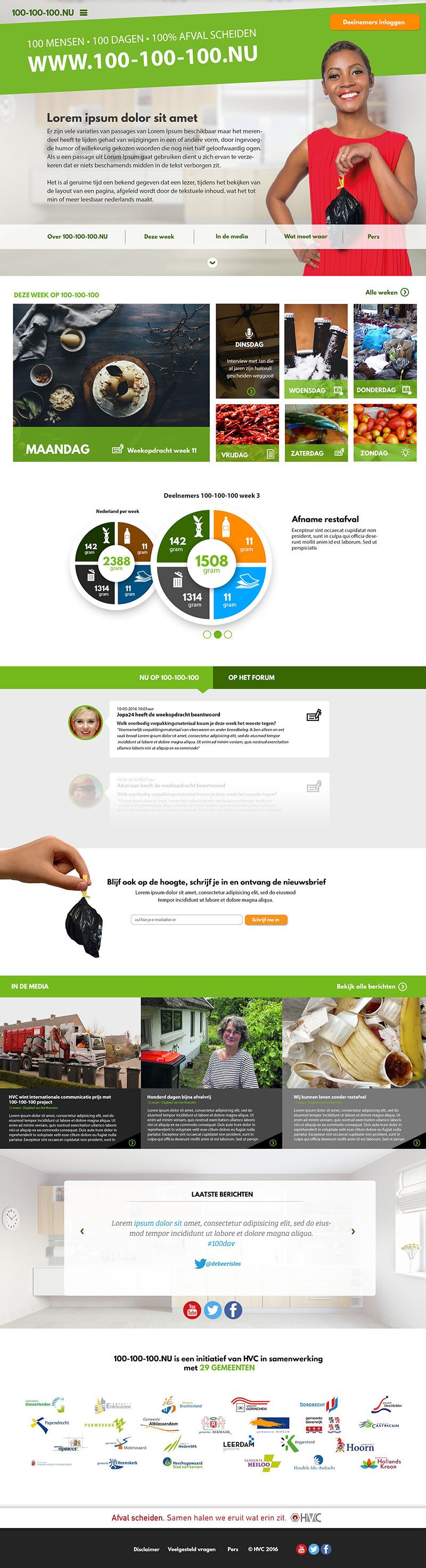 Schermafdruk van 100-100-100 campagne website | 4Bit